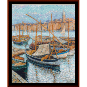 the port of marseilles - henri martin cross stitch pattern by cross stitch collectibles