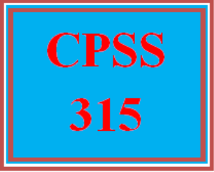 CPSS 315 Entire Course | eBooks | Education