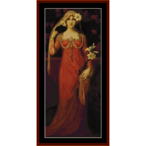 woman in red dress – elisabeth sonrel cross stitch pattern by cross stitch collectibles