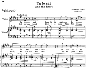 tu lo sai, high voice in e major, g. torelli. for soprano, tenor. ed. schirmer (a4)