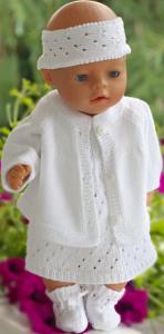 dollknittingpatterns 0210d tara - kjole, truse, hårbånd, jakke og sokker-(norsk)