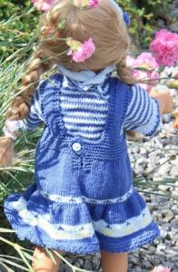 dollknittingpatterns 0061d inga  - bluse, skjørt, truse, hårbånd, strømper -(norsk)