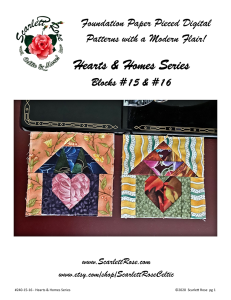 Home Blocks 15 & 16 - Hearts & Homes Series Foundation Paper Pieced (FPP) block pattern | Crafting | Sewing | Other