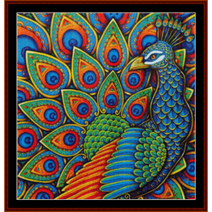 paisley peacock - wildlife cross stitch pattern by cross stitch collectibles
