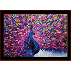 peacock plumes - wildlife cross stitch pattern by cross stitch collectibles
