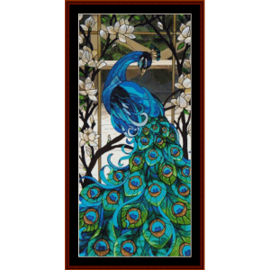 pretty peacock - wildlife cross stitch pattern by cross stitch collectibles