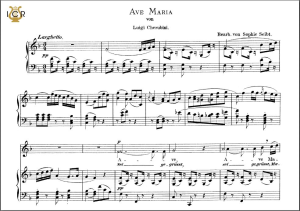 ave maria, high voice in f major, l.cherubini. caecilia, ed. andré. tablet sheet music (a5 landscape)