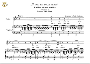 o del mio dolce ardor, high voice in g minor, c. w. glück. caecilia, ed. andré. tablet sheet music (a5 landscape)