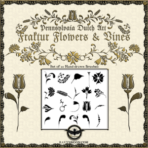 ravynmoon fraktur flowers and vines brushes