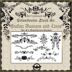 ravynmoon fraktur banners and lines photoshop brushes