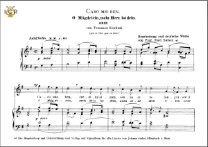 caro mio ben, high voice in g major, g.giordani.  caecilia, ed. andré. tablet sheet music (a5 landscape)