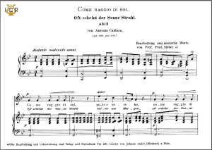 come raggio di sol, high voice in g minor, a.caldara. caecilia, ed. andré. tablet sheet music (a5 landscape)