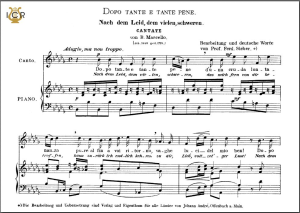 dopo tante e tante pene (cantata), high voice in b-flat minor, b.marcello. caecilia, ed. andré. tablet sheet music (landscape)