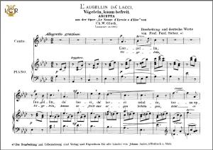 l'augellin da' lacci, high voice in a-flat major, c.w.glück. caecilia, ed. andré. tablet sheet music (landscape)