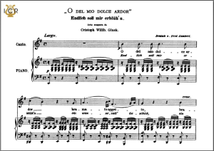 o del mio dolce ardor, medium voice in e minor, c.w. glück. caecilia, ed. andré. tablet sheet music (a5 landscape)
