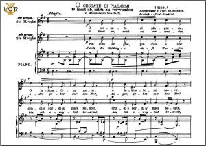o cessate di piagarmi, medium voice in e minor, a scarlatti. caecilia, ed. andré. tablet sheet music (a5 landscape)