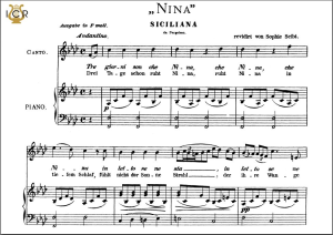 nina, medium voice in f minor, g b pergolesi. caecilia, ed. andré. tablet sheet music (a5 landscape)