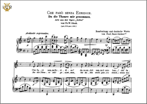 che faro senza euridice, medium voice in c major, c.w. glück. caecilia, ed. andré. tablet sheet music (landscape)