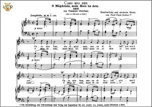 caro mio ben, medium voice in e-flat major, g.giordani.  caecilia, ed. andré. tablet sheet music (landscape)