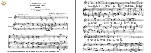 First Additional product image for - L'augellin da' lacci, Medium Voice in F Major, C.W.Glück. Caecilia, Ed. André. Ttablet Sheet Music (Landscape)