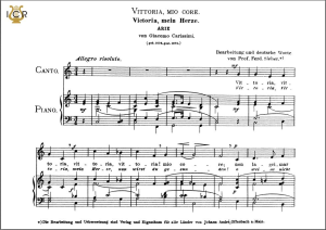 vittoria, mio core, medium voice in c major, g carissimi. caecilia, ed. andré.tablet sheet music (landscape)