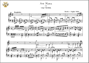 ave maria, low voice in c major, l.cherubini.  caecilia, ed. andré. tablet sheet music (landscape)