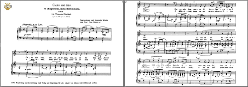 First Additional product image for - Caro mio ben, Low Voice in C Major, G.Giordani.  Caecilia, Ed. André. Tablet Sheet Music (Landscape)