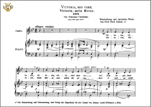vittoria, mio core, low voice in b-flat major, g. carissimi. caecilia, tablet sheet music (landscape)