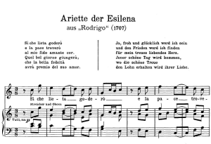 si che lieta goderò: aria (esilena) in c major (original key). g.f.haendel. rodrigo hwv 5, vocal score, ed. peters