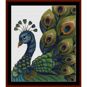 poised peacock - fantasy cross stitch pattern by cross stitch collectibles