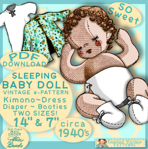 sleepy cloth baby doll vintage 1940s e-pattern pdf download - 14 inch - 7 inch - 5 inch
