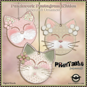 Patchwork Pentagram Kittie Papercraft Ornaments | Crafting | Paper Crafting | Other