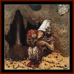 troll and child – john bauer cross stitch pattern by cross stitch collectibles
