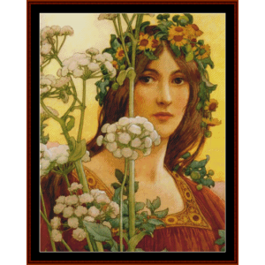 our lady of cow parsley – elisabeth sonrel cross stitch pattern by cross stitch collectibles