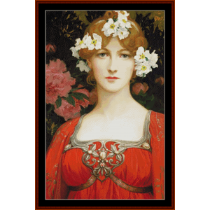 the circlet of white flowers – elisabeth sonrel cross stitch pattern by cross stitch collectibles