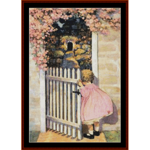 at the garden gate – jesse willcox smith cross stitch pattern by cross stitch collectibles