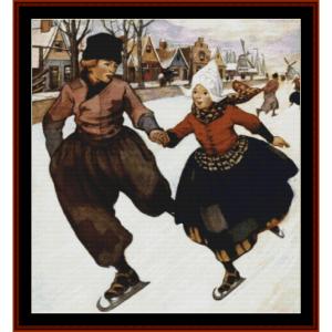 silver skates – jesse willcox smith cross stitch pattern by cross stitch collectibles