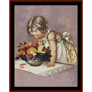 Stop and Smell the Roses – Jesse Willcox Smith cross stitch pattern by Cross Stitch Collectibles | Crafting | Cross-Stitch | Other