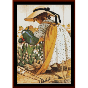 Watering the Garden – Jesse Willcox Smith cross stitch pattern by Cross Stitch Collectibles | Crafting | Cross-Stitch | Other