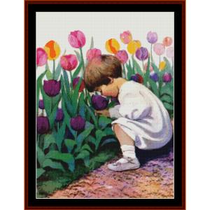tulip time – jesse willcox smith cross stitch pattern by cross stitch collectibles