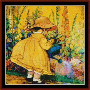 watering the flowers – jesse willcox smith cross stitch pattern by cross stitch collectibles