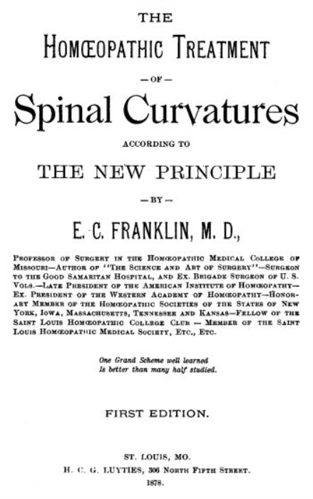 First Additional product image for - The Homeopathic Treatment of Spinal Curvatures