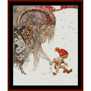 yule goat – john bauer cross stitch pattern by cross stitch collectibles