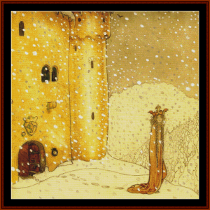 christmas snow – john bauer cross stitch pattern by cross stitch collectibles