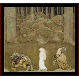 the princess and the trolls – john bauer cross stitch pattern by cross stitch collectibles