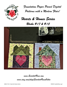 home blocks 17 & 18 - hearts & homes series foundation paper pieced (fpp) block pattern