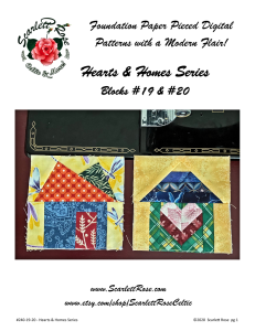 Home Blocks 19 & 20 - Hearts & Homes Series Foundation Paper Pieced (FPP) block pattern | Crafting | Sewing | Other