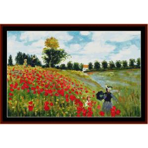 poppy field, new edition - monet cross stitch pattern by cross stitch collectibles