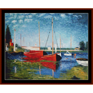 Red Boats at Argenteuil, new edition - Monet cross stitch pattern by Cross Stitch Collectibles | Crafting | Cross-Stitch | Other