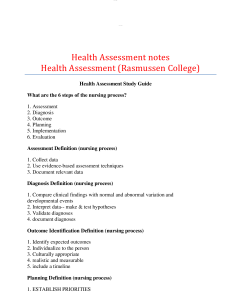 health assessment notes health assessment (rasmussen college): most comprehensive notes for class and the quick-information in exam reading.